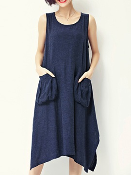 Solid Round Neck Sleeveless Shift Dress with Pocket
