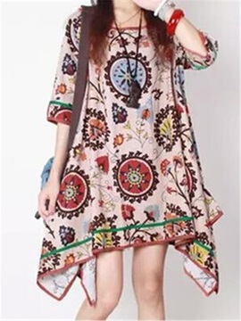 Floral Print Round Neck Asymmetric Shift Dress