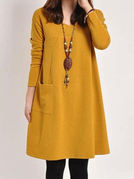 Solid Round Neck Pocket Shift Dress