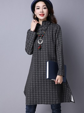 Vintage Stand Collar Geometric Day Dress