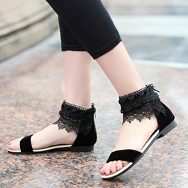Deco Lace Back-Zip Flat Sandals