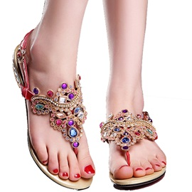 Colorful Rhinestone Thong Sandals