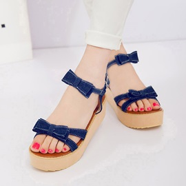 Bowknots Denim Open-Toe Flat Sandals