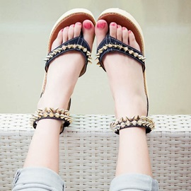 Rivets Thong Covering Heel Flat Sandals