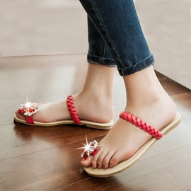 Crystal Ring-Toe Crochet Flat Sandals