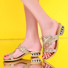 Rhinestone & Sequins Open-Toe Sandals