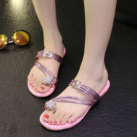 Crystal Ring-Toe Flat Beach Sandals