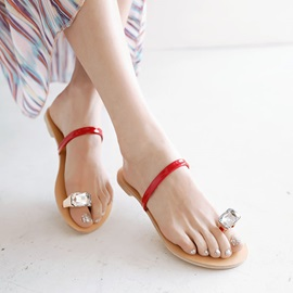 Crystal Ring-Toe Flip-Flops