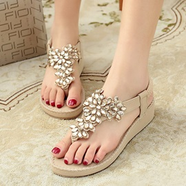 Rhinestone Elastic Band Thong Flat Sandals