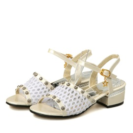 Studded Mesh Patchwork Square Heel Sandals