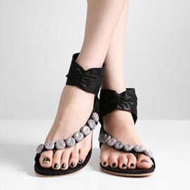 Beaded Ring-Toe Back-Zip Flat Sandals