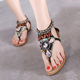Boho Beaded Back-Zip Beach Sandals