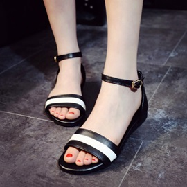 Striped PU Covering Heel Flat Sandals