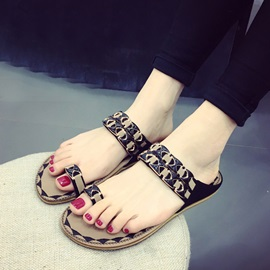 Cozy Ring-Toe Slip-On Flat Sandals