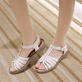 Solid Color PU T-Strap Flat Sandals