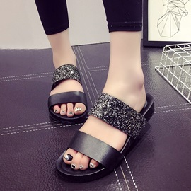 PU Sequins Open-Toe Flip-Flops