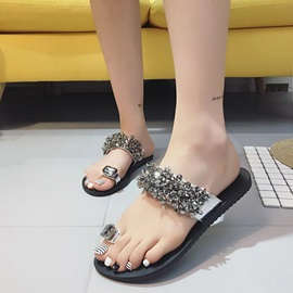 PU Slip-On Rhinestone Ring Toe Women's Flat Sandals