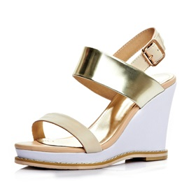 Vintage PU Color Block Wedge Sandals