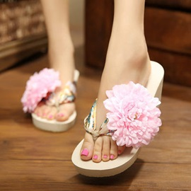 Bohemia Style Big Flower Wedge Sandals