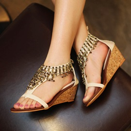 Beading Open-Toe Covering Heel Wedge Sandals