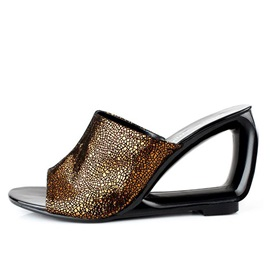 European PU Open-Toe Wedge Sandals