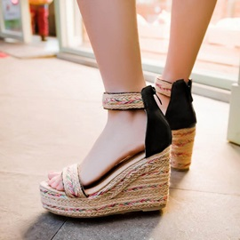 Bohemian Crochet Covering Heel Wedge Sandals