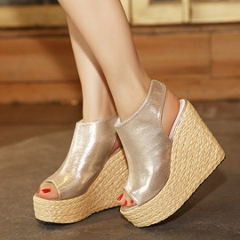 PU Crochet Peep-Toe Velcro Wedge Sandals
