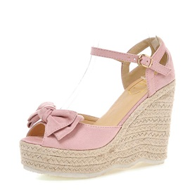 Bowknots Suede Peep-Toe Wedge Sandals