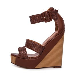 PU Crochet Buckles Wedge Sandals