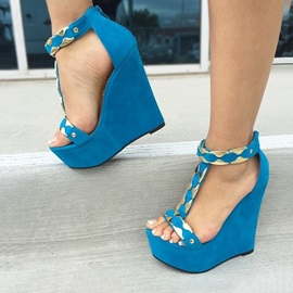 Boho T-Strap Peep-Toe Wedge Sandals