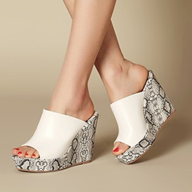 Snakeskin Printed PU Wedge Sandals