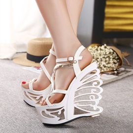 PU Open-Toe Hollow Wedge Heel Sandals
