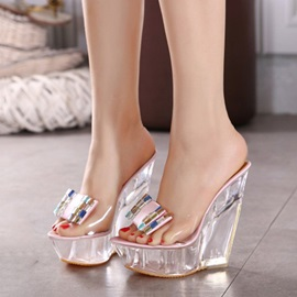 Rhinestone Transparent Wedge Heel Sandals