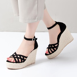Strappy Peep-Toe Wedge Sandals