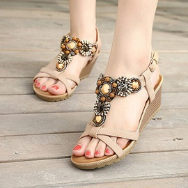 Boho Style Open-Toe Wedge Sandals