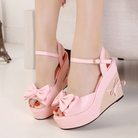 Sweet Bowknots Peep-Toe Buckles Wedge Sandals
