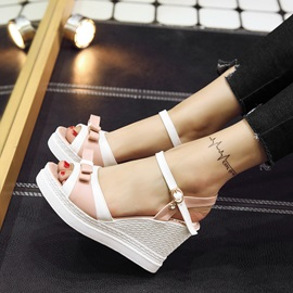 Bowtie Peep-Toe Buckles Wedge Sandals