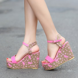 Stars Printed Buckles Wedge Sandals