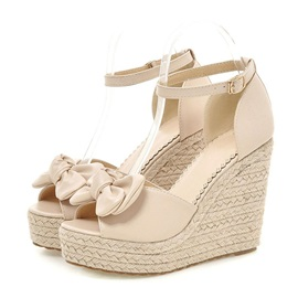Sweet Bowknots Crochet Peep-Toe Wedge Sandals