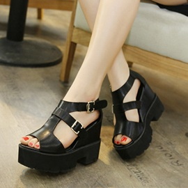 Black Buckles Peep-Toe Wedge Sandals