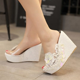 PVC Lace Applique Slip-On Wedge Sandals