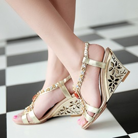 Diamond Retro Hollow Heel Wedge Sandals