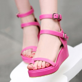 PU Buckles Ring-Toe Wedge Sandals