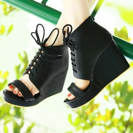 PU Open-Toe Lace-Up Wedge Sandals