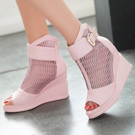Mesh Peep-Toe Wedge Sandals