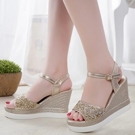 PU Line-Style Buckle Sequins Women's Wedge Sandals