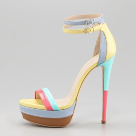 Sweet Candy Color Stiletto Heel Platform Sandals