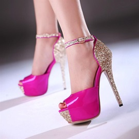 Peep-Toe Platform Sequins Sandals