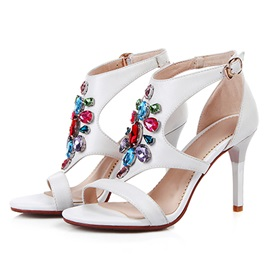 Colorful Rhinestone T-Strap Heel Sandals