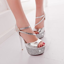 Snakeskin Platform Stiletto Heel Sandals